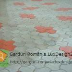 Culori gri rosu pavaje beton, modele diverse