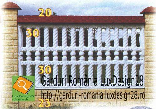Gard beton armat, garduri prefabricate beton armat constructii - produs gard culoare rosie, galben si alb