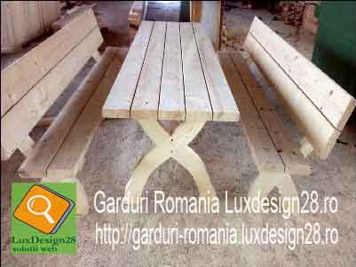 Masa si banci mobilier din lemn